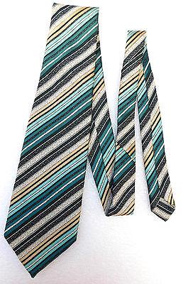 Kipper tie by Tootal Vintage 1960s Green beige stripes Wide tie