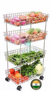 4-Tier-Vegetable-amp-Fruits-Trolley-Basket-Organizer-Storage-Shelf-Shelves-Rack