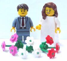 Lego Wedding Minifigure Figure Bride Brown Hair & Groom Sand Blue Suit Red Tie
