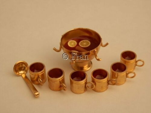 By Fran Dolls house food Brass punch bowl of Christmas mulled wine