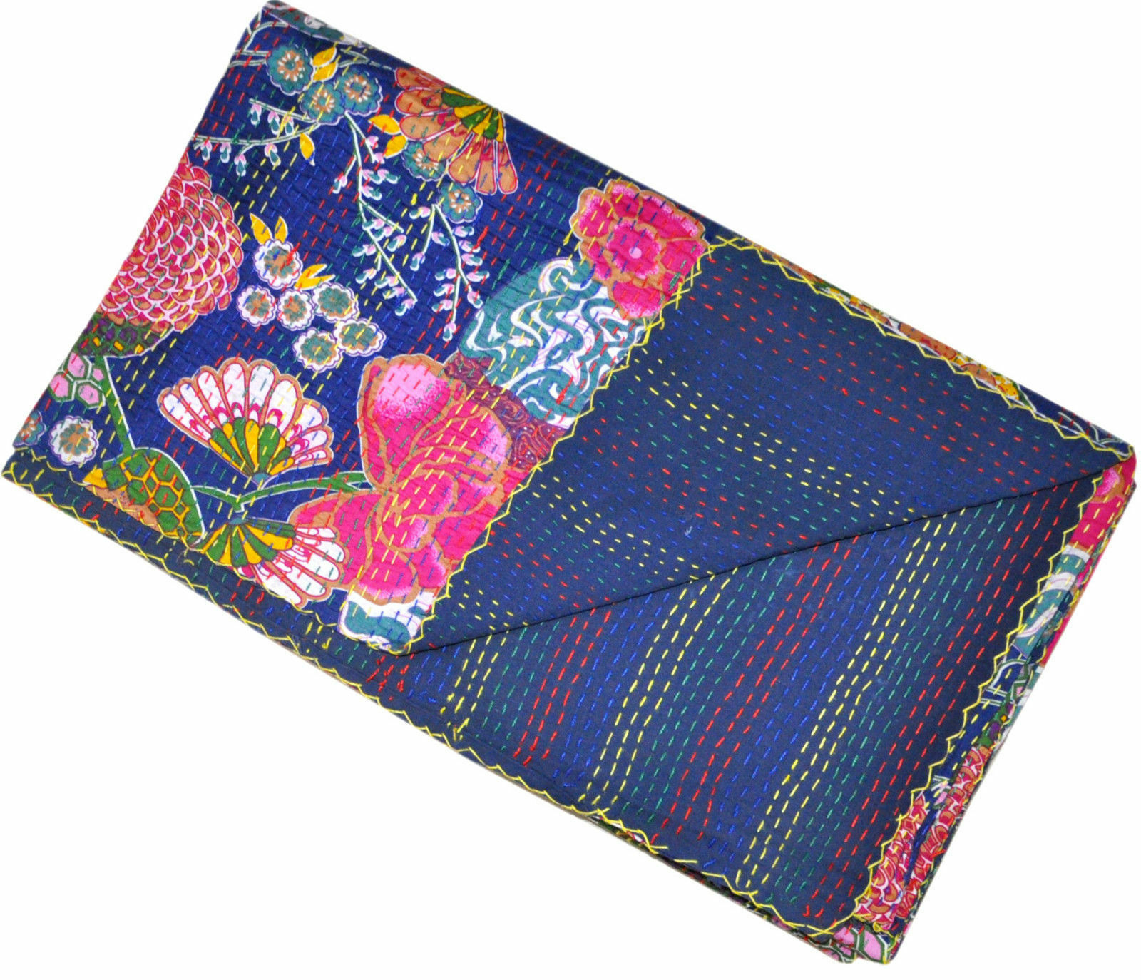 Indian Handmade Fruit Floral Queen Size Reversible Kantha Quilt Ethnic Beds