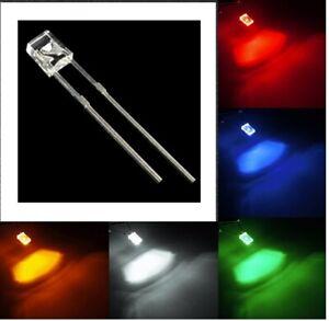 10-LED-2X3X4mm-RETTANGOLARI-BIANCHI-ROSSI-BLU-Diodi-RESISTENZE-12V-AUTO-moto
