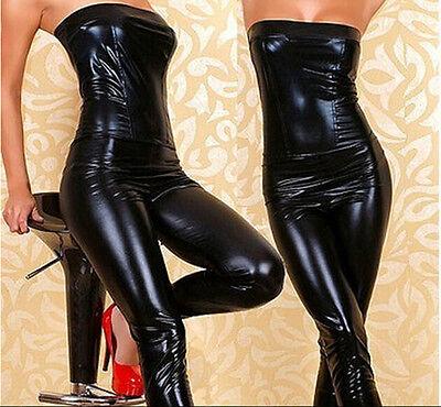 C'mon Woman Sexy Black Faux Leather Jumpsuit Tube Pants Lingerie Punk Dance JBUS