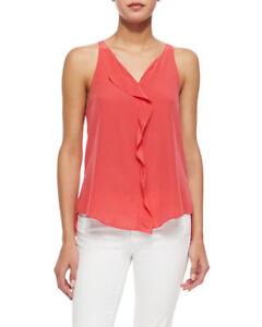 Rebecca-Taylor-Size-6-Silk-Ruffle-Top-Tank-Blouse-Pink-Sleeveless-Split-Neck