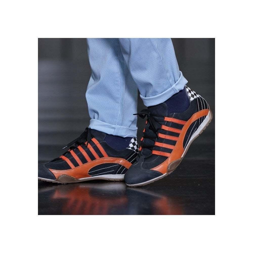 Grandprix Originals Racing Leather Sneaker Black & amp;Naranja