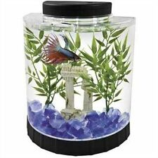 LED Half Moon Betta Kit 1.1Gallon Fish Tank Desktop Filter Decor NOT Included