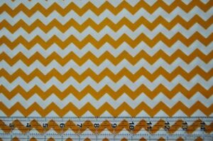 By-the-1-2-yard-100-cotton-quilt-fabric-Chevron-gold-and-white-zigzag-stripes