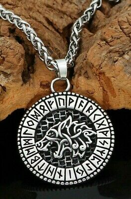 Viking Arrowhead Valknut Runes Amulet Stainless Steel For Man With Gift Bag