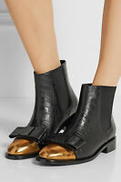 $1050 Marni Ankle Booties Flat Black Bow Leather Chelsea Boots Logo 41