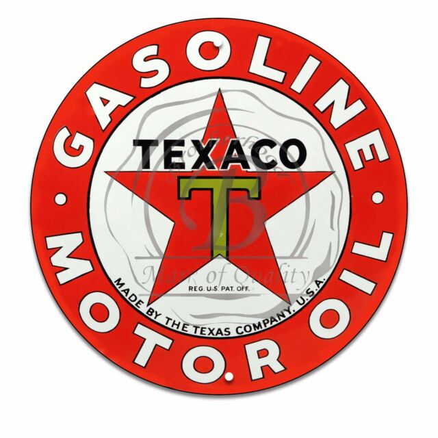 TEXACO Motor oil and Gasoline Thermometer embossed metal Sign The Texas Compstar