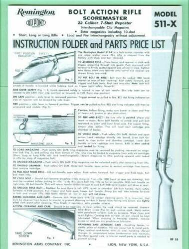 Remington Model 511-X Factory Owners Instructions Manual Reproduction