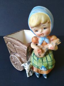 Vintage-Hummel-like-Wagon-Girl-with-Dog-Porcelain-Figurine-Ceramic-Planter-Vase