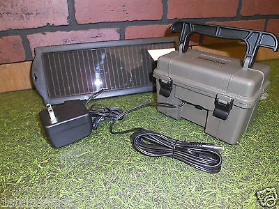 STEALTHCAM RECHARGEABLE GAME CAMERA 12V BATTERY BOX W SOLAR PANEL & AC CHARGER
