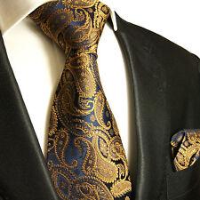 XL Krawatten Set 2tlg braun navy extra lange 165cm Seidenkrawatte + Tuch 512