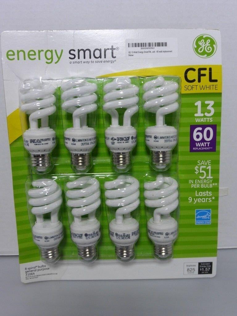 Ge Energy Smart de 13 vatios bombillas fluorescentes, 8 Pack, 60 vatios de reemplazo