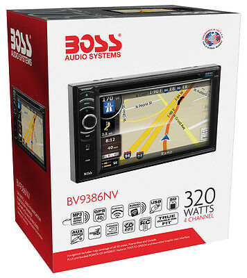 "Boss BV9386NV Double-DIN In-Dash 6.2"" Monitor DVD GPS Navigation Receiver NEW"