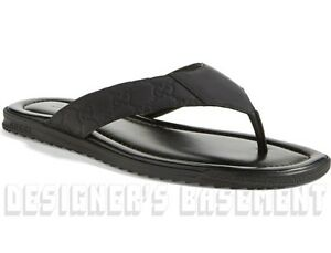 009be36dd GUCCI mens 7.5G black GUCCISSIMA Leather BEACH flip-flops Thong ...