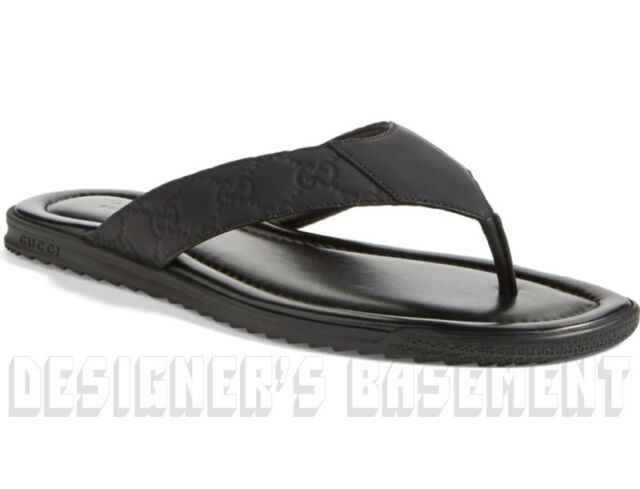 GUCCI mens 7.5G black GUCCISSIMA Leather BEACH flip-flops Thong sandals NIB Auth