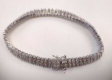 """Sterling 925 7.5"""" Long 1/4ctw Diamond Bracelet with Safety Clasp - C3"""