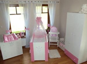 krone rosa komplett set babybett kinderbett wickelkommode schrank babyzimmer ebay. Black Bedroom Furniture Sets. Home Design Ideas