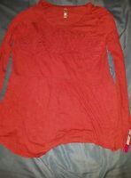 Xhilaration Women's Drop-waist Laser-cut Knit Top - Coral