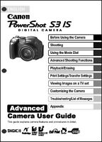 Canon Powershot S3 Is Digital Camera User Guide Instruction Manual