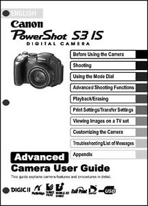 canon powershot s3 is digital camera user guide instruction manual rh ebay com canon powershot s3 is manual advanced guide canon powershot s3is manual español