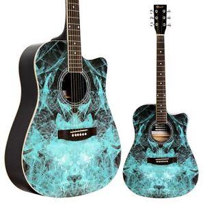Lindo blue fractal apprentice series 42c acoustic guitar for Acoustic guitar decoration