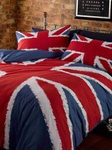 Union-Jack-Drapeau-Set-Housse-de-Couette-Double-Angleterre-Grande-Bretagne-Bleu