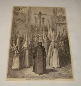1879-magazine-engraving-PROCESSION-OF-PENITENTS-Seville-Spain