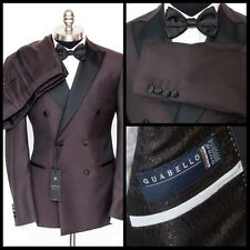 SARTORE Burgundy Guabello Wool Double Breasted Peak Tuxedo Suit 52 7 42 R NWT!