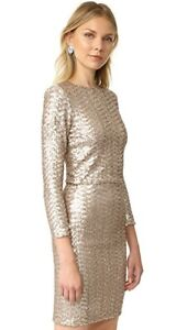Alice-amp-Olivia-Lebell-Gold-Sequin-Embellished-Lined-Long-Sleeve-Top-Size-10