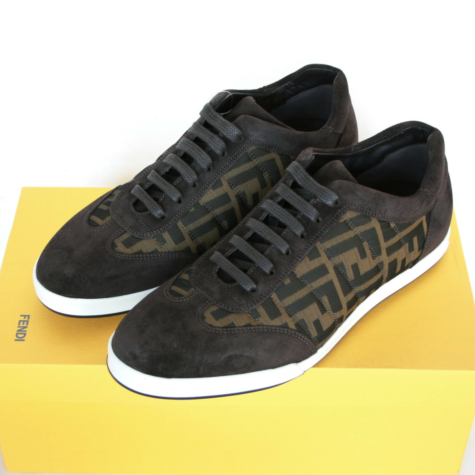 FENDI zucca FF monogram logo sneakers suede leather trainers shoes 7-UK/8-US NEW