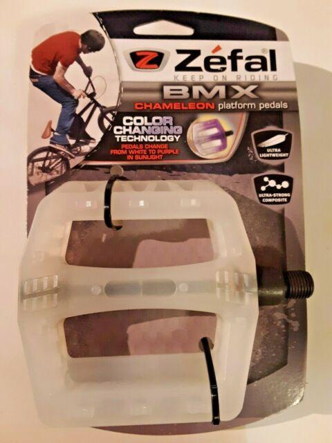 """Zefal Chameleon Color Changing White to Purple BMX Platform Pedals Plastic 1//2/"""""""