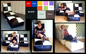 ZIPPY-FAUX-LEATHER-BEANBAG-MODULE-CHAIR-amp-FOOTSTOOL-bean-bag-cube-RELAXER-BED