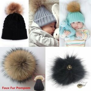a8a769d63f5 1X Manul Fox Fur Pompom Fur Pom Poms Ball with Press Button for Hats ...