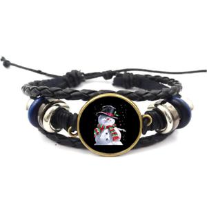 Bonhomme de neige Face Verre Cabochon Bracelet Tressé Bracelet En Cuir Bracelets