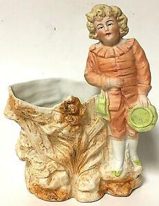 Vintage Colonial Young Boy Bisque Porcelain Bud Flower Holder Figurine