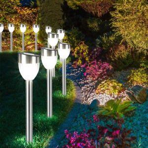 10-er-Set-LED-Garten-Leuchte-Aussen-Solar-Steck-Lampen-Terrasse-Hof-Einfahrt-Weg