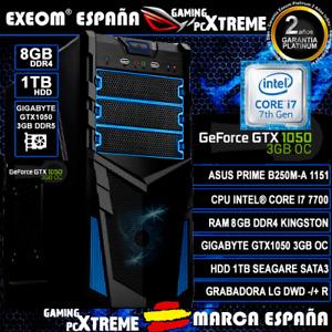 Ordenador Gaming PC Intel i7 7700 8GB 1TB HDD ASUS Gtx1050 2GB OC sobremesa