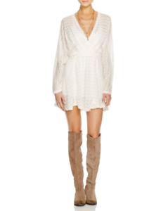 Free People  SNUG BUG  Ivory Wrap Wool Acrilic Coctail Party Sweater Dress Sz M