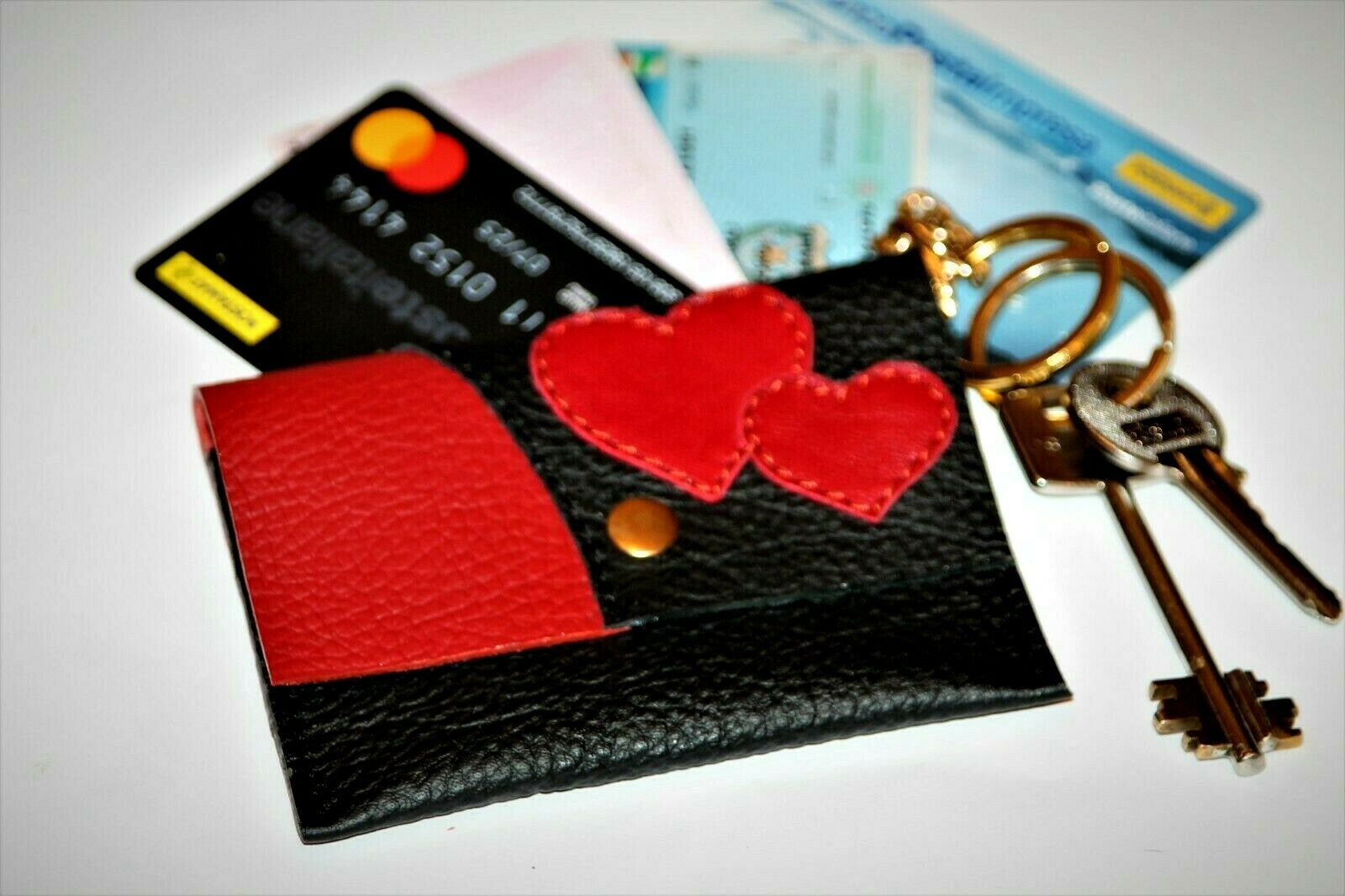 Leather coin purse flowers Wallet card holder Leather key chain jewelry holder