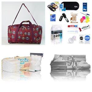 Luxury-PINK-baby-girls-pre-packed-maternity-hospital-bag-Mum-amp-Baby-burgundy-owl