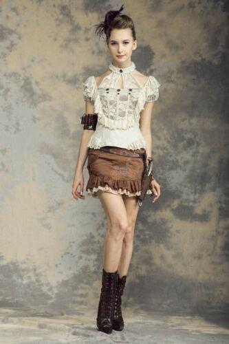 Lagerräumung RQBL Steampunk Gothic Bluse Shirt Vintage schwarz braun beige SP139