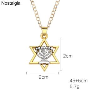 Mens-Menorah-Necklace-Judaica-Holder-Pendant-Hebrew-Hanukkah-Israel-Emblem