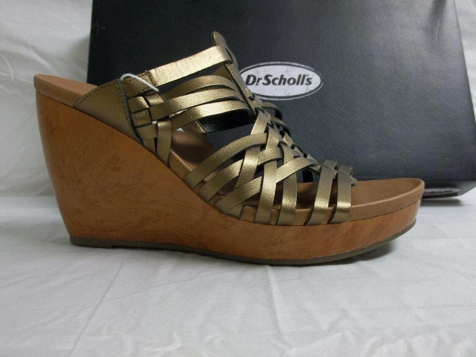 Dr. Scholl's Größe 8 M Magan Bronze Leder Wedges Sandales NEU Damenschuhe Schuhes
