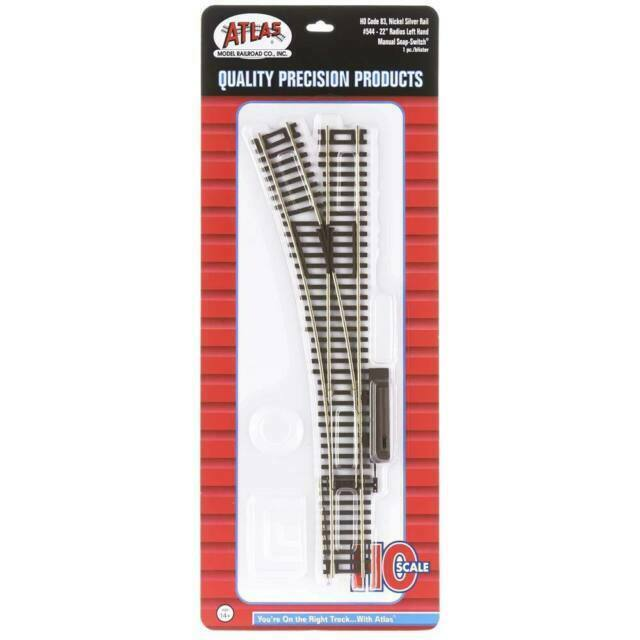 Code 83 22in Radius Snap Switch Remote Left Atlas 546 HO Scale