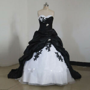 Plus Size Long Black White Ball Gowns Bridal Wedding Dresses