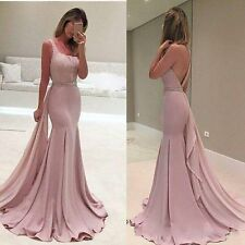 2017 Mermaid Prom Formal Purple Satin Evening Dresses Beading Party Bridal Gowns