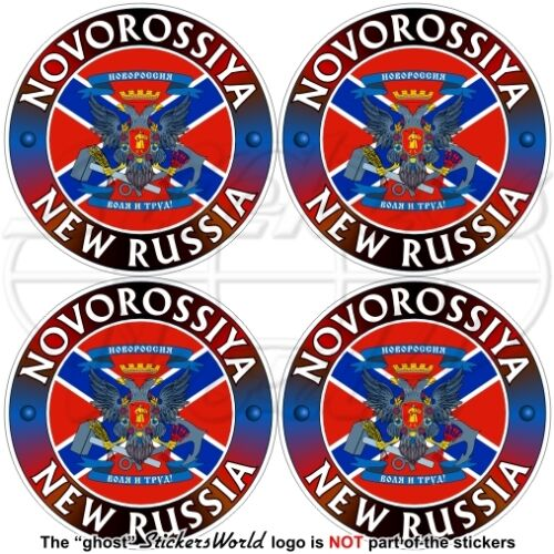 NOVOROSSIYA Confederation NEW RUSSIA Flag-Coat of Arms 50mm Stickers Decals x4